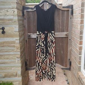 Sleek tribal print maxi dress